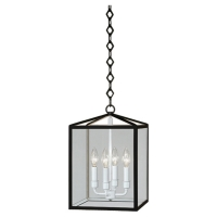 Rachna Box Lantern in Satin Black with White Interior Fixture Holds 4 B Lamps, 60w max ea (Not included) U.L. Listed