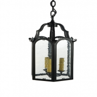 Sabrina Small Lantern in Iron.  Shown in Rust Black Finish with Seedy Glass Holds 3 B Lamps- 45 Watt Max Each (Not Included)
