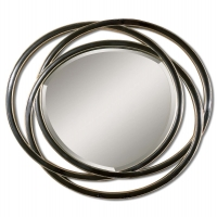 Ura- Mirror framed by 3 layered black circles with silver leaf accents