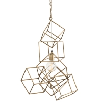Stacked Cube Art Pendant in Antique Brass Fixture Holds 1 A Lamp, 60 Watt Max (Not Included) U.L. Listed