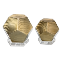 """U-ACCENT5 set of Pentagon shaped Accessories are made of Brushed Bronze Finished Cubes with Crystal Bases. U-ACCENT5 is sold as a set as shown. The Larger Cube is 10""""Dia x 9h and the smaller is 8""""dia x 7h. You will recieve a pair with your order."""