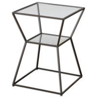 U-ANGULAR Side Table is made of Black Iron and features a Tempered Glass Top with an Antique Mirror Center Shelf.