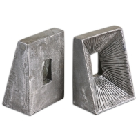 U-END Bookend set are of cast metal with a ditressed silverleaf finish. Sold as a set. They weigh 10lbs