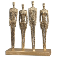 U-FOUR metal Scuplture features lightly ditressed gold finish. Weighs 12 lbs.