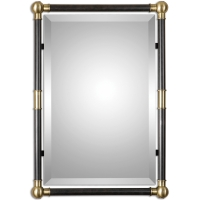 """U-Mod Mirror features Dark Oil Rubbed Bronze Metal Columns accented by Lighting Antiqued Brass Finished Details. Mirro Features a generous 1.25"""" Bevel. May be hung Vertically or Horizontally."""