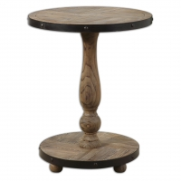 U-RUSTIC Side Table is contructed of Solid Fir, weathered and sanded smooth with aged black metal banding.