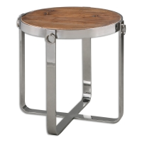 U-SLEEK Side Table has a Polished Stainless Steel Base with Ring Accents.  The Inset Top is Naturally Weathered, reclaimed, fir wood.