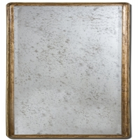 U-TALL Mirror features a solid mahogany frame finished in antiqued gold leaf with a butterscotch edge. The Antique Mirror is beveld and may be hung horizontal or vertical