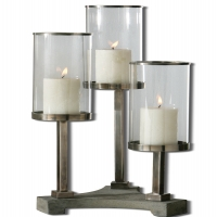 U-THREE Candleholder features, Brushed Aluminum Accents with Clear Glass Globes and Concrete Base.  Distressed Beige Candles are Included.