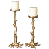 "U-TWIG Candleholders are Cast Metal with Antique Gold Leaf Finish.  Beige Pillar Candles are Included.  U-TWIG holders are sold as a pair.  The Tall is 15"" and the Short is 11"".  You will recieve 1 of each with this purchase."