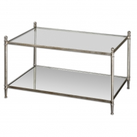 UMED Cocktail Table features a forged iron frame with an Antique Silver Leaf Finish. The Top is Tempered Glass and the Bottom Shelf is Mirror.
