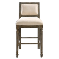 URBAn Bar Stool has a craved hardwood frame with turned fluted legs in a pewter wash finish.  The Back is supportive and the cross stretchers make this a sturdy stool.  The Upholstery is a parchment colored chenille.  This stool weighs approximately 33lbs.  There is no Counter Height version avail.