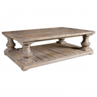 URBANO Cocktail Table is Solidly Constructed of Salvaged Fir Lumber and hand Turned Balusters. Sun Faded and Distressed Patina is finished with a stoney grey wash. Because of the Salvaged Nature each table is unique.