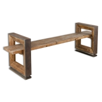The Uri Bench Features a Floating Plank of Gray-Washed Pine offering generous seating Space, Suspended through Mitered Frame, Weathered wood supports with Charcoal Stained accents.
