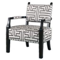 USAMAL Accent Chair features a Solid Poplar Exposed Wood Frame, distressed with a Dark Espresso Finish and Upholstered in a Large Scale Dark Grey and Off White Geomentric Woven with Polished Nickel Nail Head Trim.