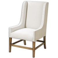 USOA Accent Chair features classic Chippendale Styling with a Modern Twist.  The Solid Hardwood Frame has a Bleach Pine FInish on the Stretchers and Legs.  The Front Upholstery is a Neutral Linen.  The Side and back Upholstery is a Tan Refined Burlap.  The Chair is accented with Upholster's tacks along the edging.  This would make a great Host Chair for Dining.