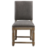 UTAH Dining Side Chair features a Greay Weathered hardwood Base with Stretcher Detail Upholstered in a Charcoal Gray Poly Woven and Brass Nail Head Trim.  These are Substantial DIning Chairs and the Poly Woven makes cleaning a breeze.  Please contact us for a shipping quote if your are ordering multiple chairs at one time.  There may be a savings.
