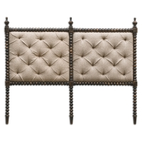 UTTARA King Size Headboard Features a Hand-Carved Hardwood Frame with a Rubbed Black FInish.  The Upholstered Panels are Cross-Tufted in Light Mocha Linen.  Each Headboard comes with a French Cleat Mounting Attachment.