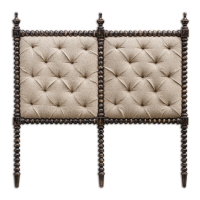 UTTARA Queen Size Headboard Features a Hand-Carved Hardwood Frame with Rubbed Black FInish. The Upholstered Panels are of cross tufted light mocha linen. Each Headboard comes with a frech cleat mounting attachment.