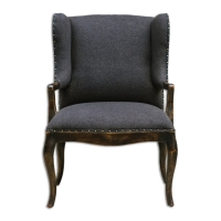 "UTCHA Accent Chair Features a Solid Mahogany Frame Hand Carved and Finished in Rubbed Black.  The Upholstery is a Woven Black Fabric with Brass Nailhead trim.  Seat Height is 19"" and would work for Dining."