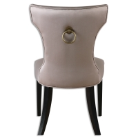 UZI Dining Side Chair features a Solid Hardwood Frame with Ebony Stained Legs Upholstered in a Silvery Taupe Satin with Matching Welt Trim. The Chair has a Beautiful Brass Ring Pull as Accent on the back.