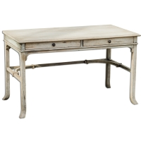 UZMA Writing Desk is Constructed of Plantation-grown mango wood frame Veneered in a Deep Grained Mindi Wood with an Aged White FInisha nd Brass Hardware.