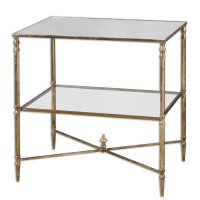 UZURI Side Table features a forged iron frame with a distressed gold leaf finish.  The Top is reinforced mirror and the center shelf is clear tempered glass.