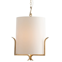 Gilded Iron Frame Holding an Ivory Microfiber Cylinder Shade. Fixture Holds 1 A Bulb, 60watt Max (Not Included) U.L. Listed