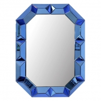 Glam Octagonal Mirror with Faceted Mirrored Frame in Cobalt