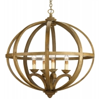 Banded Orb Fixture in Gold FInish with 4 Bulb Holds 4 B Lamps- 60 Watt Max Each (Not Included) U.L. Listed