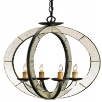 Modern Iron Orb Pendant with Antique Mirror Insets Holds 4 B Lamps- 45 Watt Max Each (Not Included) U.L. Listed