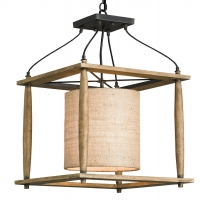 Rustic Chic Lantern.  Wood Frame Light with Iron Accents and Beige Fabric Barrel Shade Holds 1 A Lamp- 60 Watt Max (Not Included) U.L. Listed