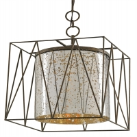 Modern Iron frame Lantern with Mercury Glass Center Cylinder Holds 1 A Lamp- 60 Watt Max (Not Included) U.L. Listed