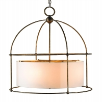 Iron Framed Modern Lantern with Suspended Barrel Shade in the Center Holds 4 B Lamps- 60 Watts Each Max (Not Included) U.L. Listed