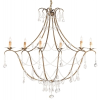 Elegant Parisian Style Chandelier with Gilded Iron frame and Glass Bead and Prism Accents Holds 6 B Lamps- 60 Watt Max Each (Not Included) U.L. Listed