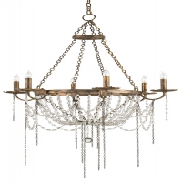 Whimsical Chandelier with Gilded Iron Frame Dripping with Glass Beaded Swags Holds 6 B Lamps- 60 Watt Max Each (Not Included) U.L. Listed