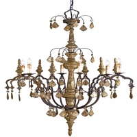 Large Scale Italianate Chandelier, Carved Wood Frame in Burnished Silver Leaf and Iron Arms Holds 6 B Lamps- 60 Watt Max Each (Not Included) U.L. Listed