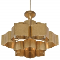 Retro-Styled Metal Semi-Flush Light in Gold Finish Holds 6 B Lamps- 60 Watt Max Each (Not Included) U.L. Listed