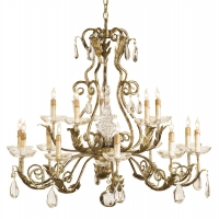 Tuscan Chandelier with Gilded Iron Frame Accented by Crystal Drops and Finials Holds 15 B Lamps- 45 Watt Max Each (Not Included) U.L. Listed