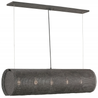 Industrial Modern Bar Pendant with Metal Mesh Cylinder Holds 5 B Lamps- 60 Watt max Each (Not Included) U.L. Listed