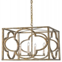 Modern Iron Cage Lantern with Quatrafoil Motif in Burnished Gold FInish Holds 4 B Lamps- 60 Watt Max (Not Included) U.L. Listed