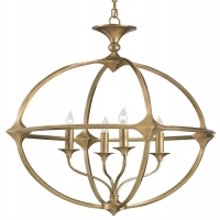 Modern Brass Orb Chandelier with 4 Lights Holds 4 B Lamps- 60 Watt Each (Not Included) U.L. Listed