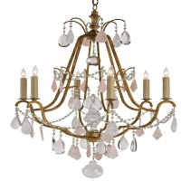 Classic French Style Chandelier with Gilded Iron Frame Adorned with White and Rose Quartz Prisms and Crystal Swags Holds 6 B Lamps- 45 Watt Max Each (Not Included) U.L. Listed