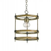 Primative Pendant with Bleach Wooden Rings and Iron Accents Holds 1 A Lamp- 60 Watt Max (Not Included) U.L. Listed