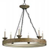 Bleached Wooden Ring Light with 6 Candles and Rust Iron Chains Holds 6 B Lamps- 45 Watt Max Each (Not Included) U.L. Listed