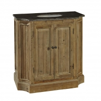 Fabiano Single Vanity is constructed of reclaimed hardwoods and features 2 functioning center drawers. The Cabinet comes complete with a Soapstone Top and Undermount White Oval Sink. The are no options.