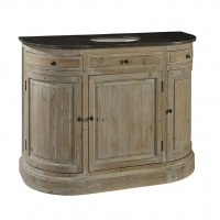 Faizah Vanity Console is constructed of reclaimed hardwoods and features 3 functioning door and 2 working drawers. The Cabinet comes with a Soapstone top and white under mount bowl as shown. No Options Avail.