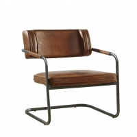 Fabrizio Leather Arm Chair Has Tube Steel Framing and is Upholstered in Distressed Brown Leather.  Great Industrial Chic Side or Dining Chair.