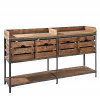Fakiri Media Console Features a Forged Iron Frame with Recleimed Wood Drawers and Shelves.