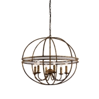 Cael Ball Chandelier- Hand Forged Iron with Gold FInish.  Holds 6 B Lamps- 60 Watt Each (Not Included) U.L. Listed